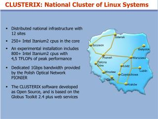 Distributed national infrastructure with 12 sites 250+ Intel Itanium2 cpus in the core