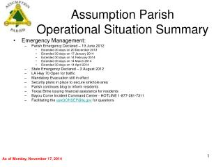 Assumption Parish Operational Situation Summary
