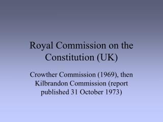 Royal Commission on the Constitution (UK)