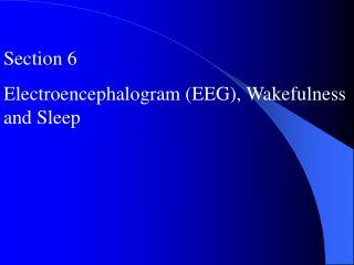 Section 6 Electroencephalogram (EEG), Wakefulness and Sleep