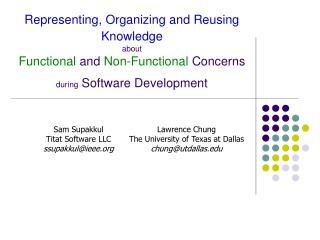 Sam Supakkul Titat Software LLC ssupakkul@ieee