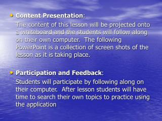 Content Presentation :