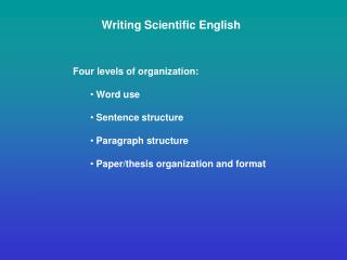 Writing Scientific English