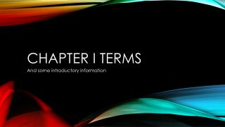 Chapter I terms
