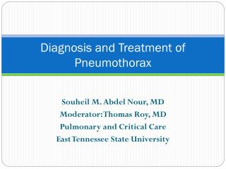 Diagnosis and Treatment of Pneumothorax