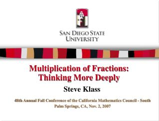 Multiplication of Fractions:  Thinking More Deeply
