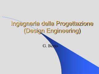 Ingegneria della Progettazione (Design Engineering)
