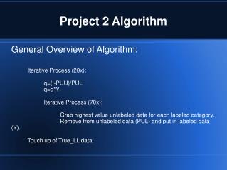 Project 2 Algorithm