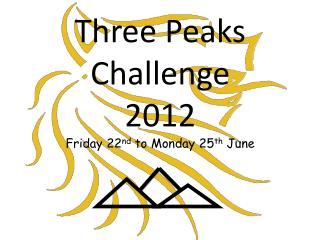 Three Peaks Challenge  2012 Friday 22 nd  to Monday 25 th  June