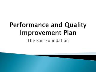 Performance and Quality Improvement Plan