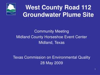 West County Road 112 Groundwater Plume Site