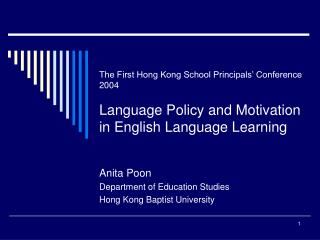 Anita Poon Department of Education Studies Hong Kong Baptist University