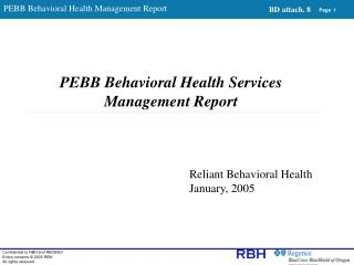PEBB Behavioral Health Services Management Report