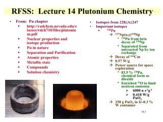 RFSS :   Lecture  14 Plutonium Chemistry