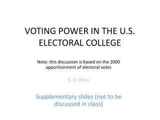 VOTING POWER IN THE U.S. ELECTORAL COLLEGE