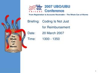 Briefing:	Coding Is Not Just  	for Reimbursement  Date:	20 March 2007 Time:	1300 - 1350