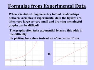 Formulae from Experimental Data