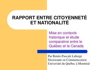 RAPPORT ENTRE CITOYENNET  ET NATIONALIT