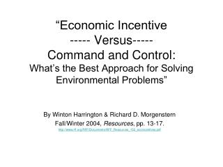 By Winton Harrington & Richard D. Morgenstern Fall/Winter 2004,  Resources , pp. 13-17.