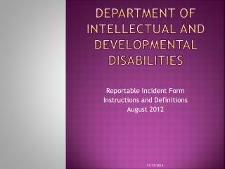 Department of intellectual and developmental disabilities