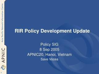 RIR Policy Development Update