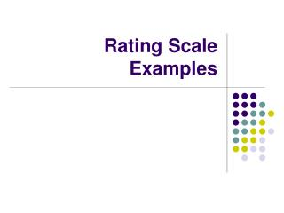 Rating Scale Examples