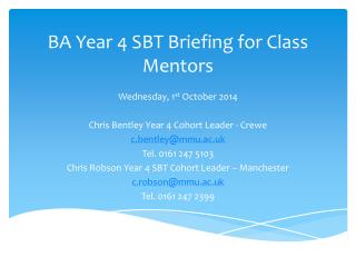 BA Year 4 SBT Briefing for Class Mentors