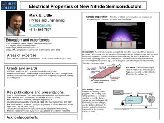 Electrical Properties of New Nitride Semiconductors