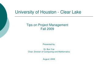 Tips on Project Management Fall 2009