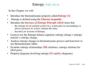 Entropy  (YAC- Ch. 6)