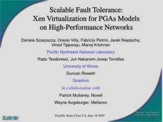 Scalable Fault Tolerance:  Xen Virtualization for PGAs Models on High-Performance Networks