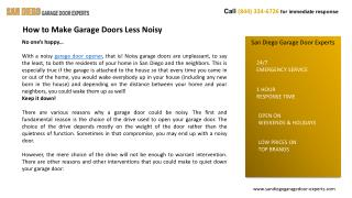 How to Make Garage Doors Less Noisy-San Diego Garage Door Ex