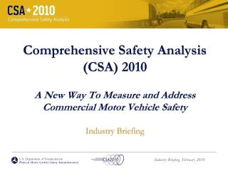 U.S. Department of Transportation Federal Motor Carrier Safety Administration