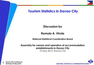 Tourism Statistics in Davao City Discussion by Romulo A. Virola