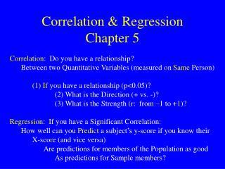 Correlation & Regression Chapter 5