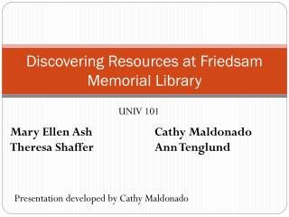 Discovering Resources at Friedsam Memorial Library