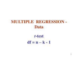 MULTIPLE  REGRESSION - Data