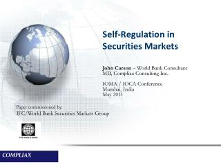 Self-Regulation in Securities Markets