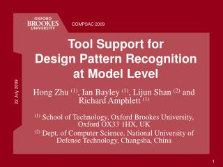 Tool Support for  Design Pattern Recognition at Model Level