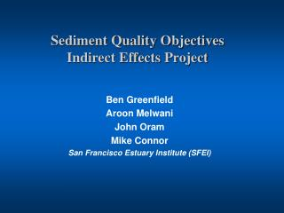 Sediment Quality Objectives Indirect Effects Project