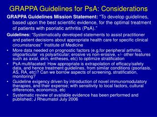 GRAPPA Guidelines for PsA: Considerations