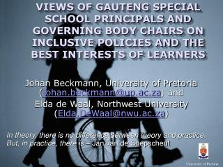 Johan Beckmann, University of Pretoria ( johan.beckmann@up.ac.za ) and