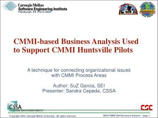CMMI-based Business Analysis Used to Support CMMI Huntsville Pilots