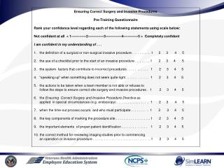 Ensuring Correct Surgery and Invasive Procedures Pre-Training Questionnaire