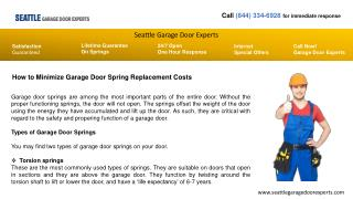 How to Minimize Garage Door Spring Replacement Costs-Seattl