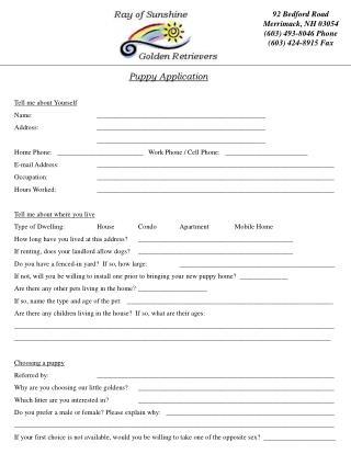Puppy Application