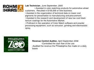 Lab Technician ,  June-September, 2005