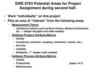 SWE 6763 Potential Areas for Project Assignment during second half.