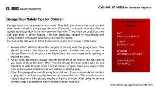 Garage Door Safety Tips for Children-St Louis Garage Door Ex
