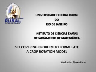 UNIVERSIDADE FEDERAL RURAL  DO  RIO DE JANEIRO INSTITUTO DE CIÊNCIAS EXATAS